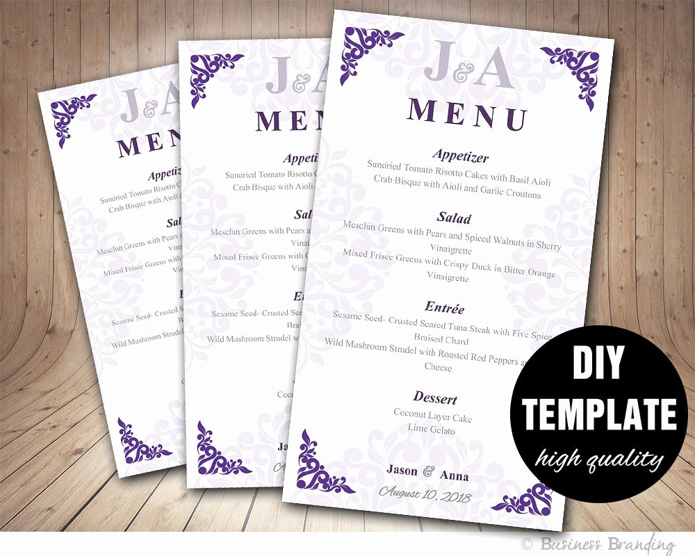 Wedding Menu Card Template Lovely Wedding Menu Card Diy Wedding Menu Template by
