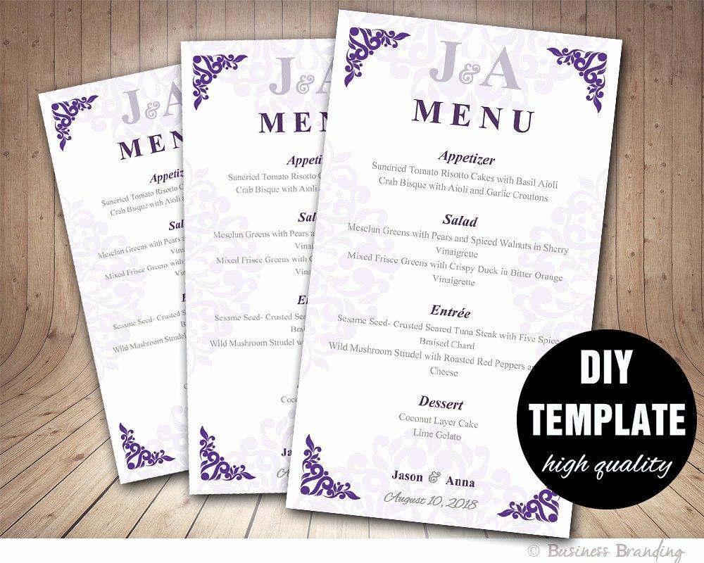 Wedding Menu Card Template Lovely Wedding Menu Card Diy Wedding Menu Template by