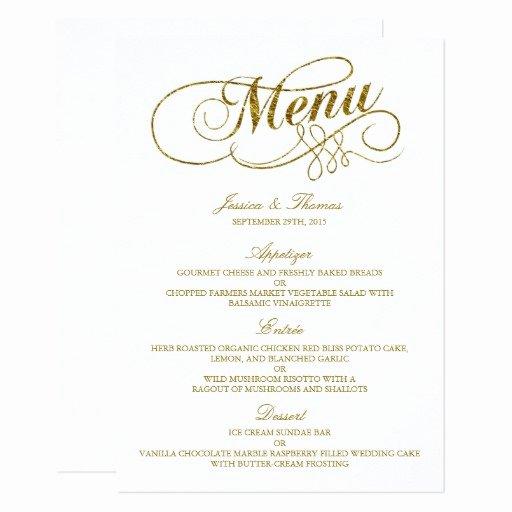 Wedding Menu Card Template Luxury Chic Faux Gold Foil Wedding Menu Template Card