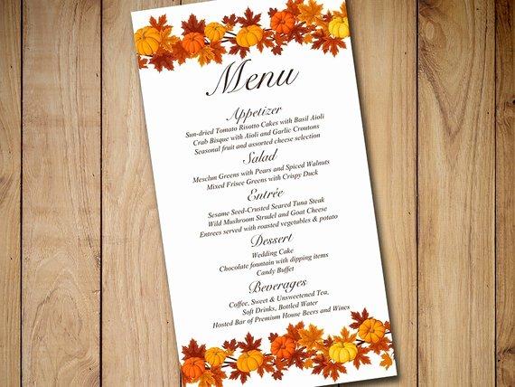 Wedding Menu Card Template Luxury Fall Wedding Menu Card Template Download