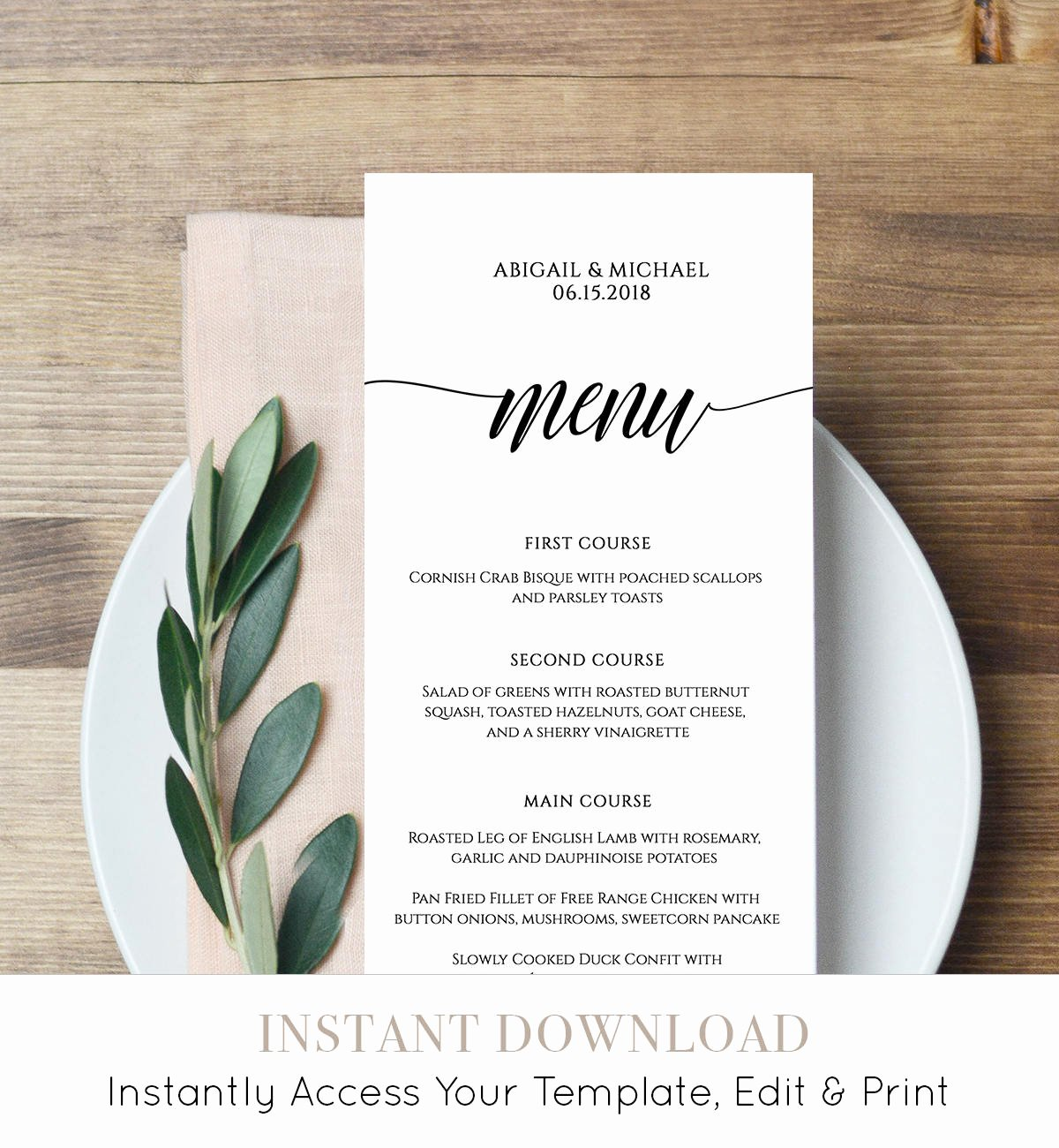 Wedding Menu Card Template Luxury Menu Card Template Rustic Dinner Menu Wedding Menu Card