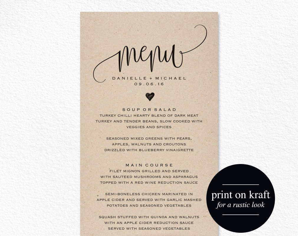 Wedding Menu Card Template Luxury Rustic Wedding Menu Wedding Menu Template Menu Cards Menu