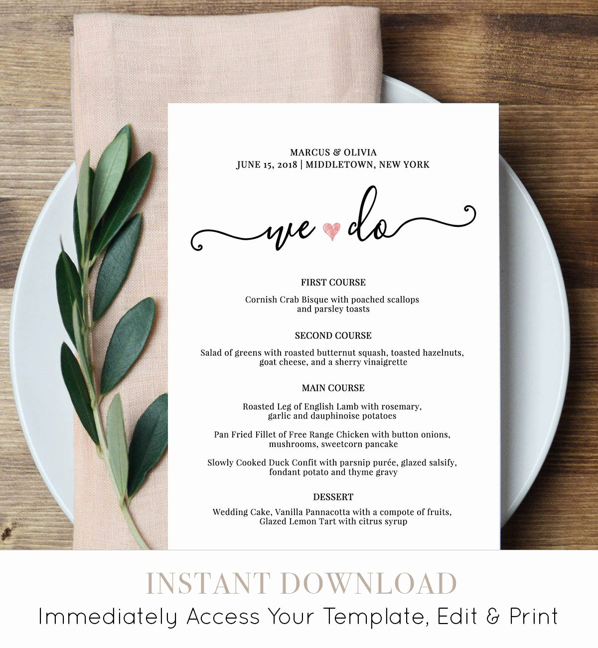 Wedding Menu Card Template New Wedding Menu Card Template We Do Printable Dinner Menu
