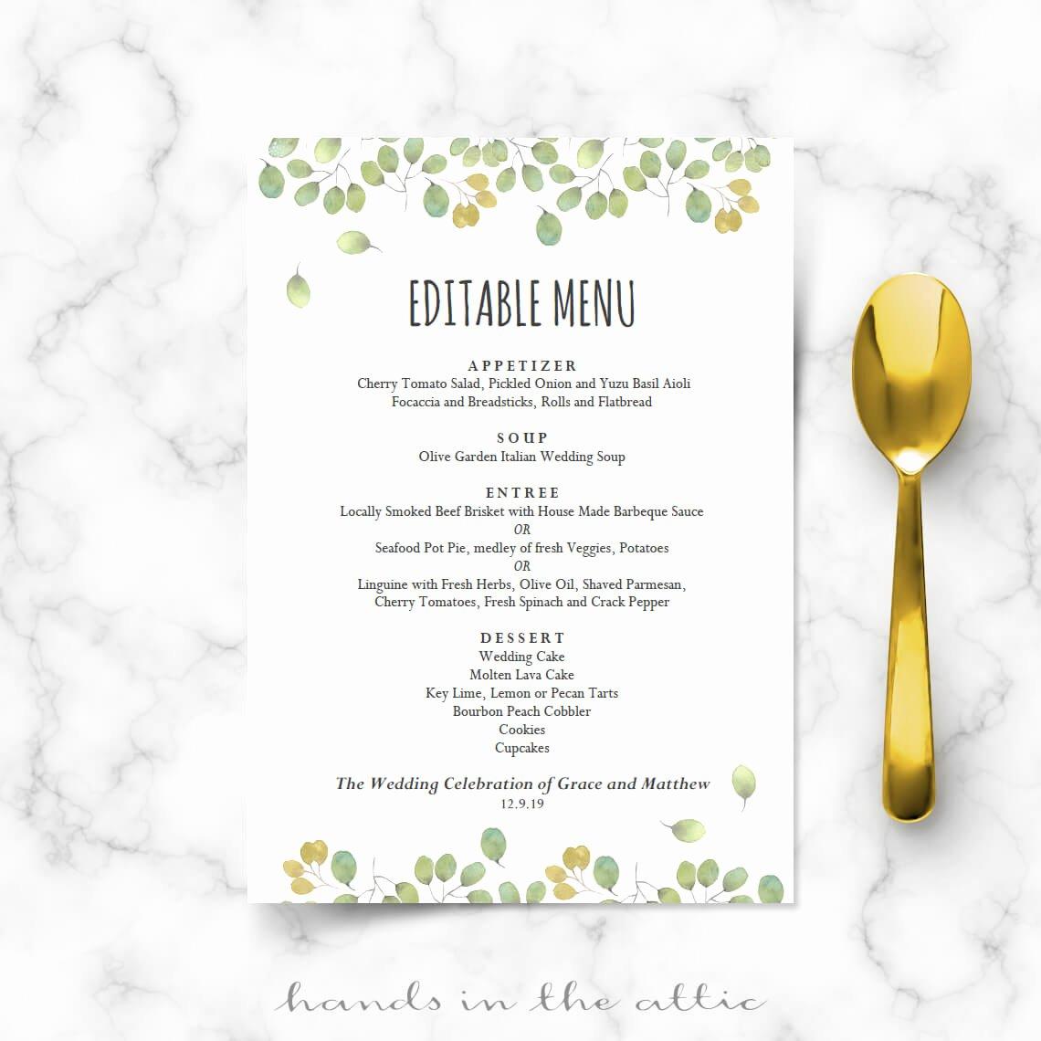 Wedding Menu Card Template Unique Leaves Wedding Reception Menu Template
