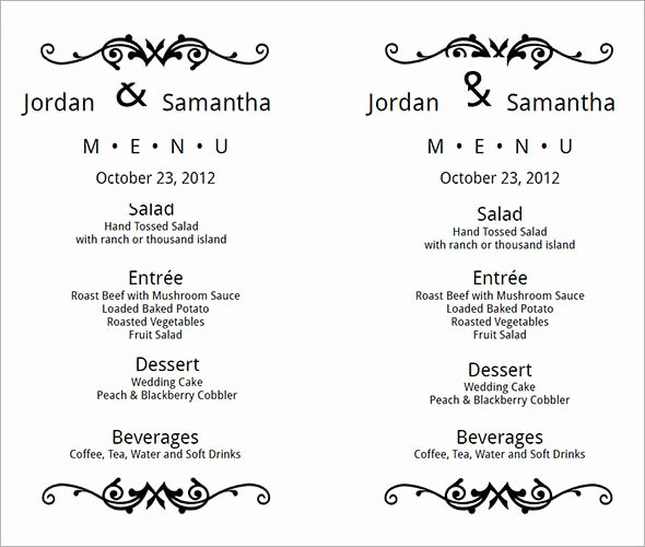 Wedding Menu Cards Template Awesome Wedding Menu Template 24 Download In Pdf Psd Word