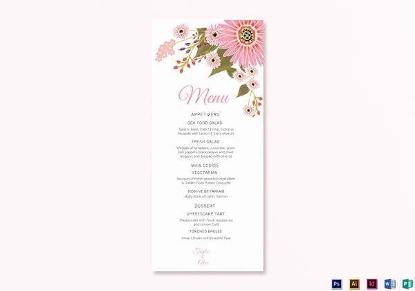 Wedding Menu Cards Template Beautiful 42 Sample Menu Cards