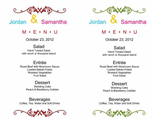 Wedding Menu Cards Template Elegant Wedding Menu Template 5 Free Printable Menu Cards