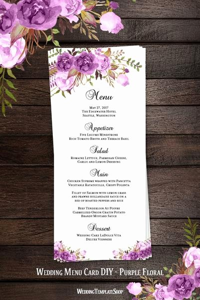 Wedding Menu Cards Template Fresh Printable Wedding Templates Romantic Blossoms Diy