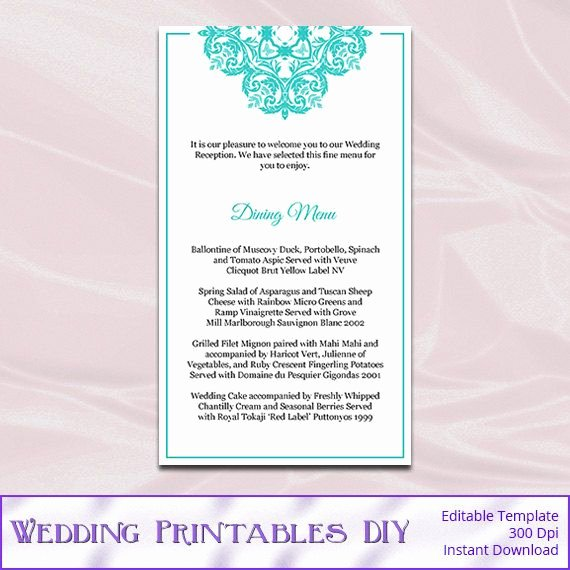 Wedding Menu Cards Template Fresh Tiffany Blue Wedding Menu Cards Template by