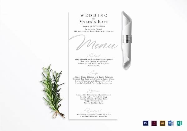 sample menu card