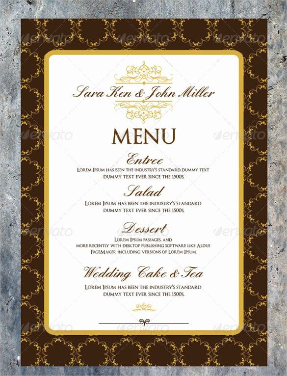 Wedding Menu Cards Template Inspirational Wedding Menu Template 31 Download In Pdf Psd Word