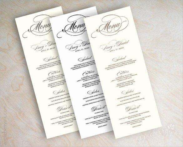 Wedding Menu Cards Template Luxury 42 Sample Menu Cards