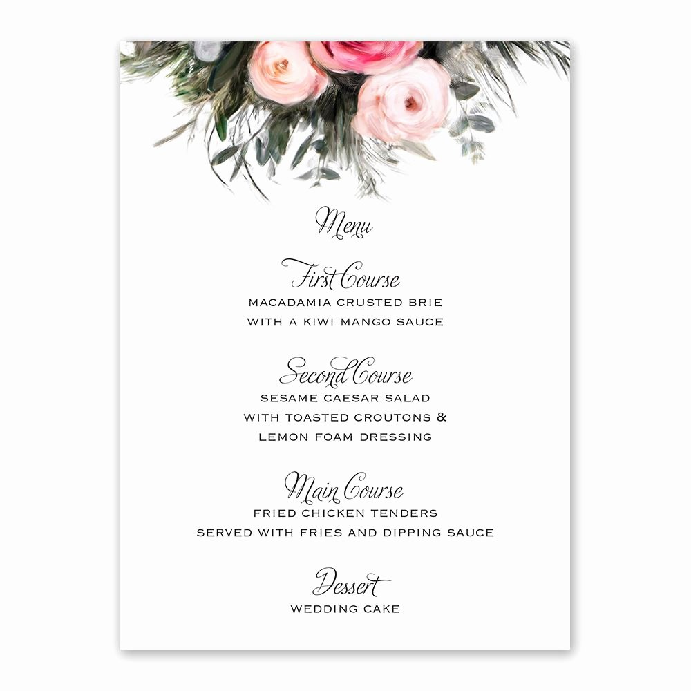 Wedding Menu Cards Template New Ethereal Garden Menu Card