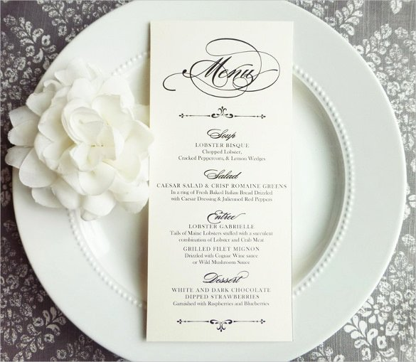 Wedding Menu Cards Template Unique 37 Wedding Menu Template – Free Sample Example format