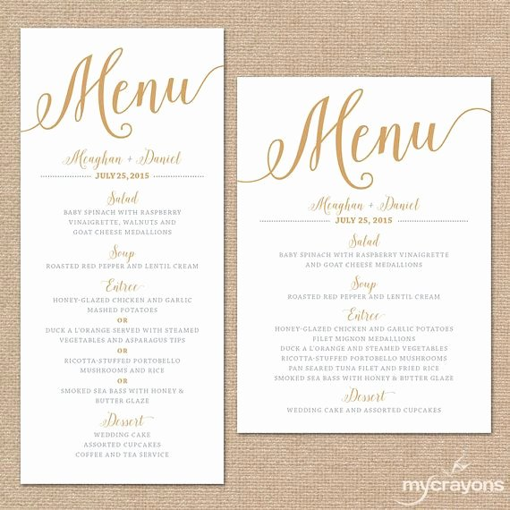 Wedding Menu Cards Template Unique Gold Wedding Menu Cards Wedding Menu Template Gold