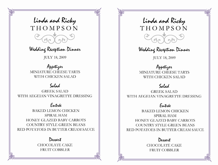 Wedding Menu Template Free Awesome Wedding Menu Template – 5 Printable Designs