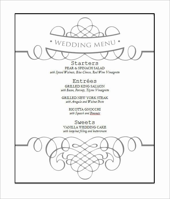 Wedding Menu Template Free Best Of Wedding Menu Template 31 Download In Pdf Psd Word