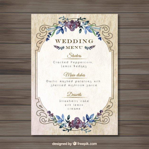 Wedding Menu Template Free Elegant Vintag Wedding Menu Template Vector