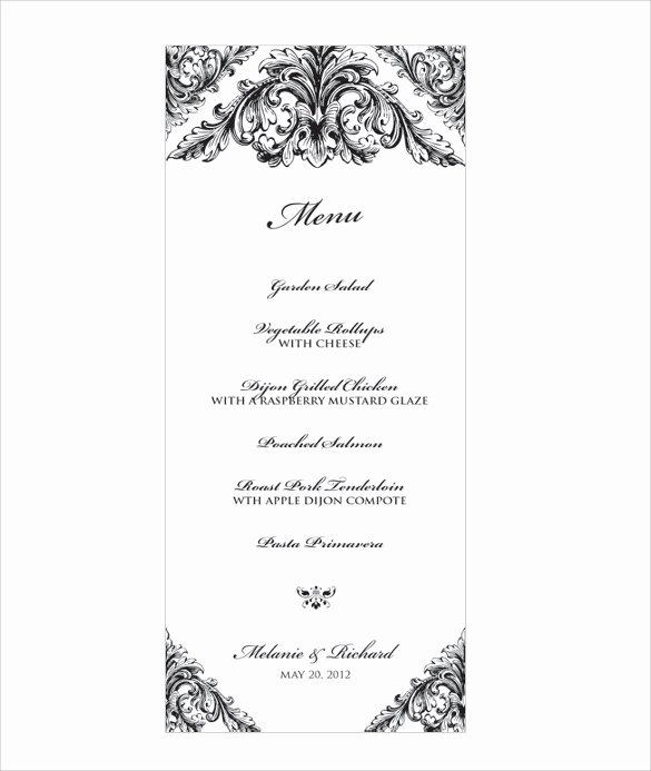 Wedding Menu Template Free Elegant Wedding Menu Template 31 Download In Pdf Psd Word