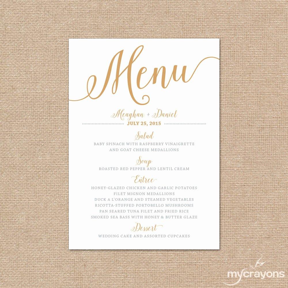 Wedding Menu Template Free Fresh Gold Wedding Menu Card Printable Wedding Menu Bella Script