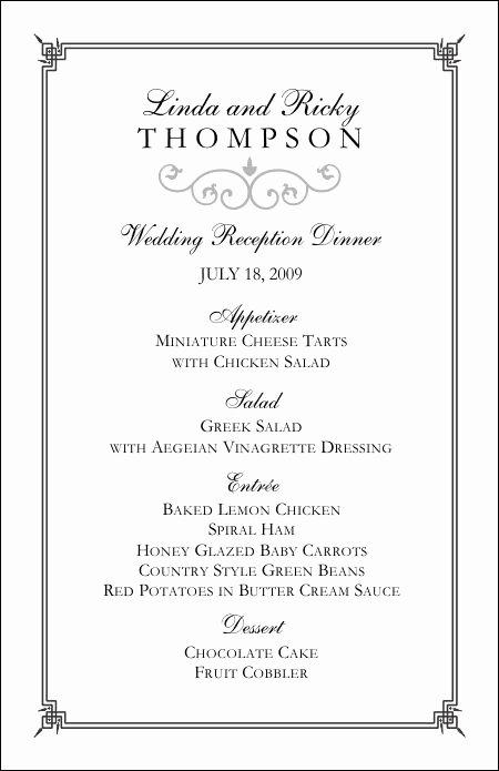 Wedding Menu Template Free Luxury Wedding Menu Templates