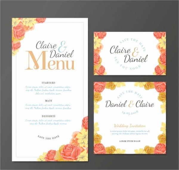 Wedding Menu Template Free New 10 Wedding Menu Cards Psd Eps Vector