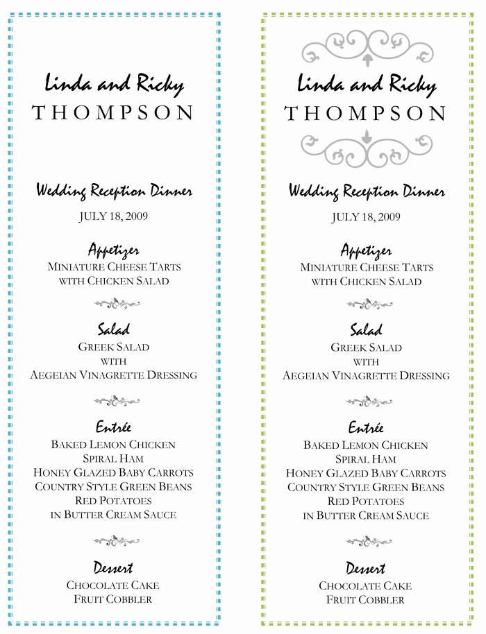Wedding Menu Template Free Unique Wedding Menu Template – 5 Printable Designs