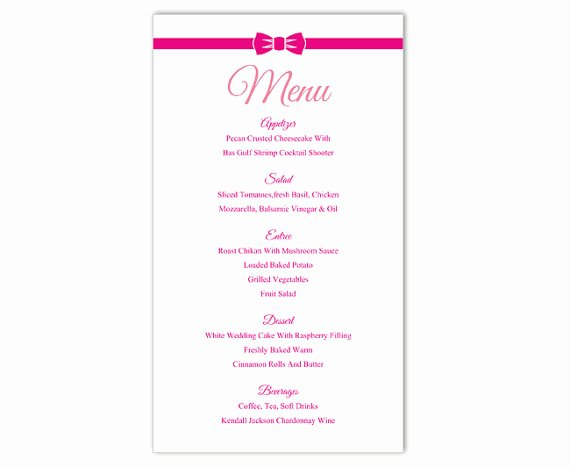 Wedding Menu Template Word Beautiful Wedding Menu Template Diy Menu Card Template Editable Text