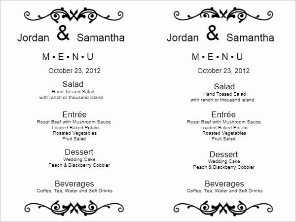 Wedding Menu Template Word Best Of 35 Free Menu Templates Word Doc Psd Designs