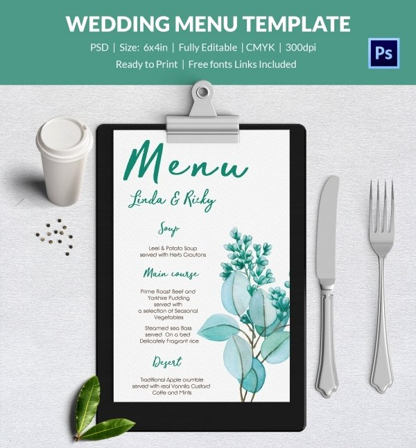 Wedding Menu Template Word Best Of Wedding Menu Template 44 Free Word Pdf Psd Eps