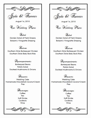 Wedding Menu Template Word Elegant Wedding Menu Template 7