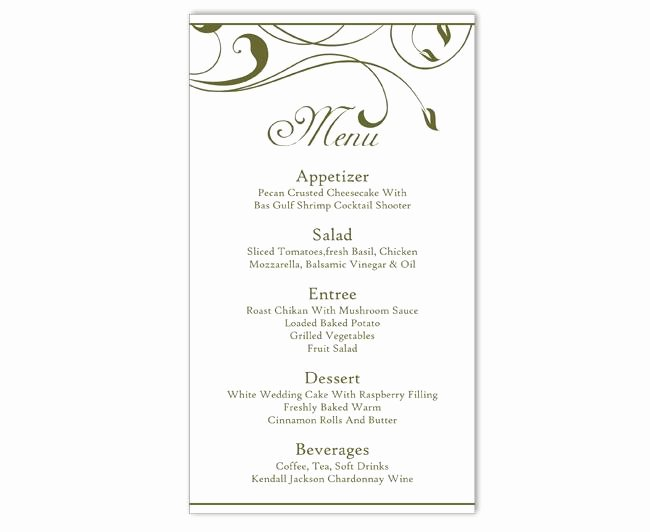 Wedding Menu Template Word Elegant Wedding Menu Template Diy Menu Card Template Editable Text