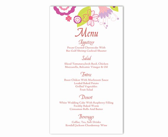 Wedding Menu Template Word Fresh Wedding Menu Template Diy Menu Card Template Editable Text