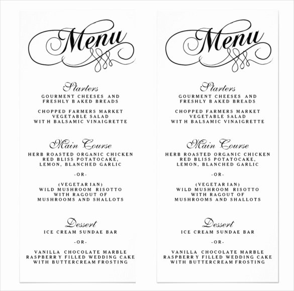 sample wedding menu