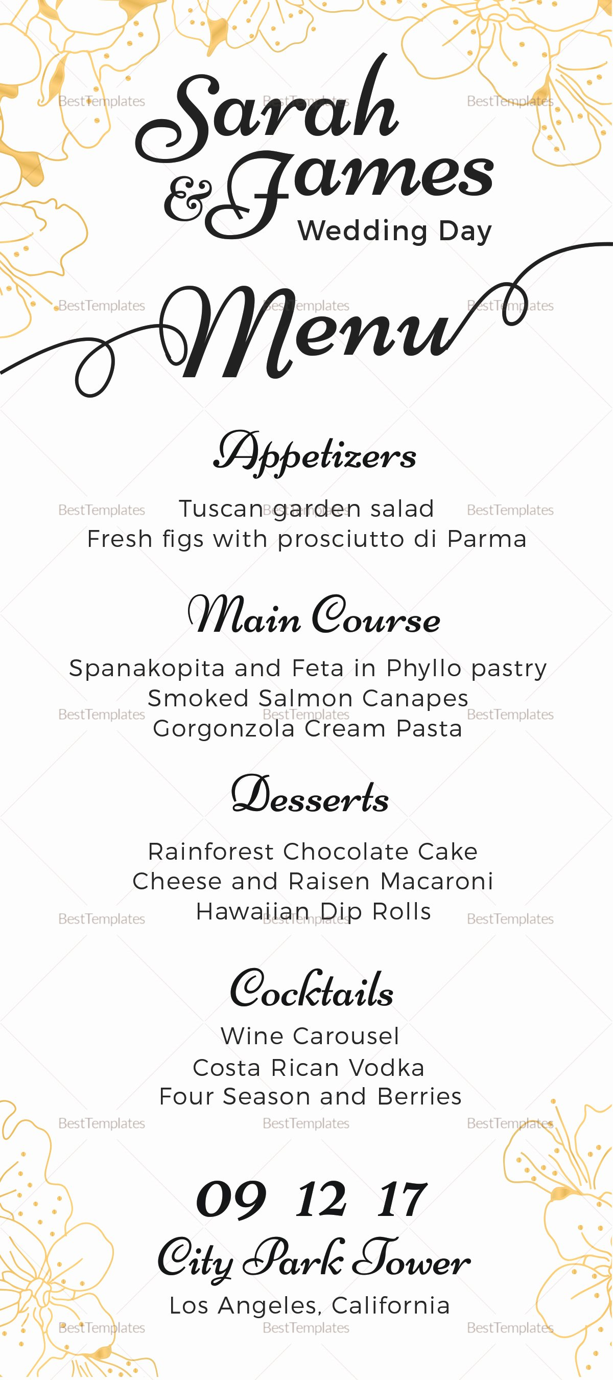 Wedding Menu Template Word Inspirational Reception Wedding Menu Design Template In Psd Word