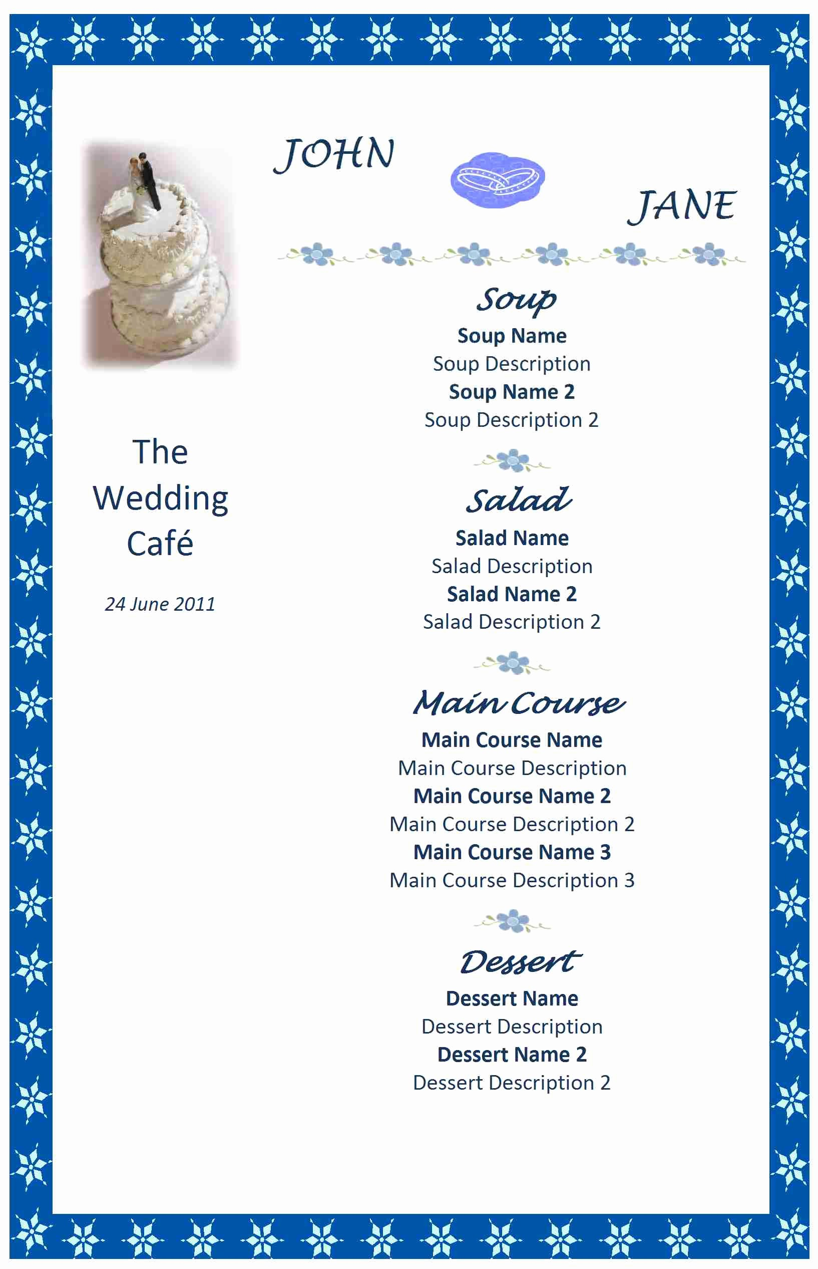 Wedding Menu Template Word Inspirational Wedding Menu