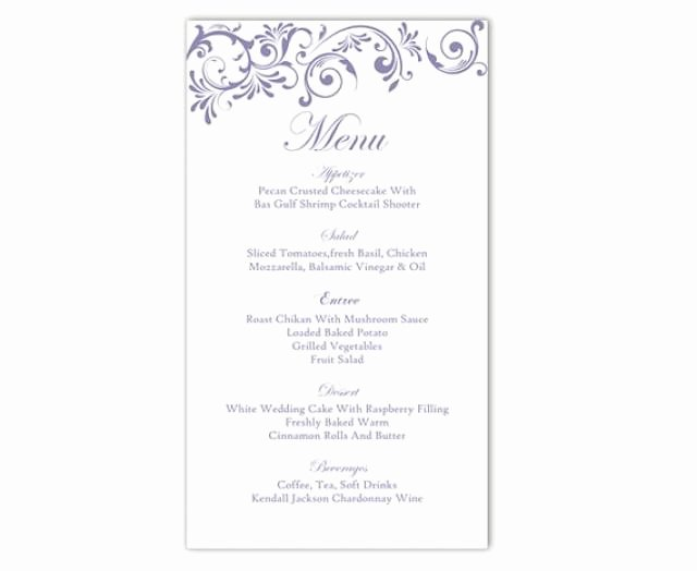 Wedding Menu Template Word Inspirational Wedding Menu Template Diy Menu Card Template Editable Text