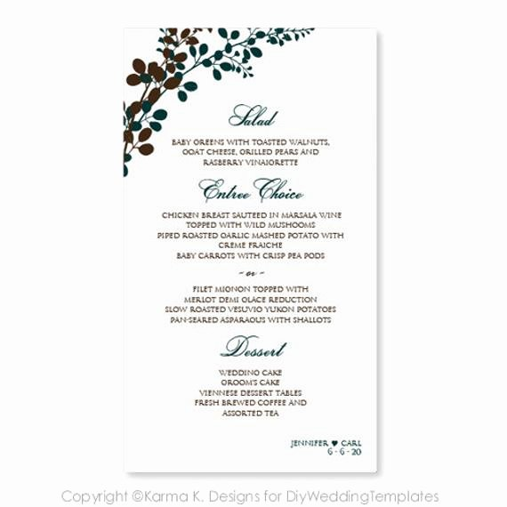 Wedding Menu Template Word Lovely Wedding Menu Card Template Download by Diyweddingtemplates