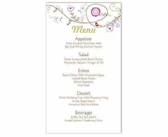 Wedding Menu Template Word Luxury Wedding Menu Template Diy Menu Card Template Editable Text