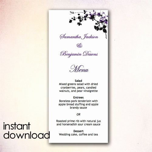Wedding Menu Template Word New Diy Wedding Menu Template Instant Download Microsoft