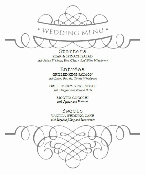 Wedding Menu Template Word Unique Sample Menu Template 19 Download In Pdf Psd Word