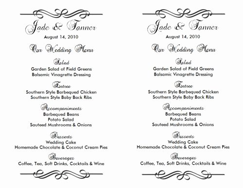 Wedding Menu Template Word Unique Wedding Menu Template 2