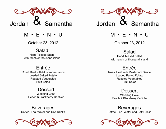 Wedding Menu Template Word Unique Wedding Menu Template – 5 Printable Designs