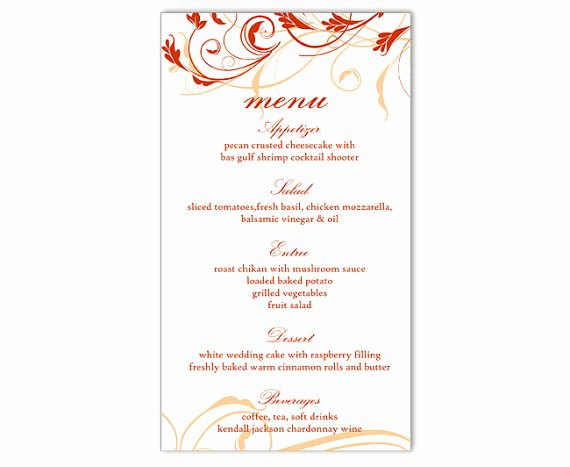 Wedding Menu Template Word Unique Wedding Menu Template Diy Menu Card Template Editable Text