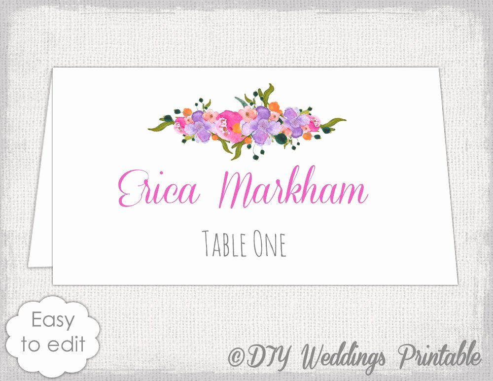 Wedding Name Card Template Awesome Place Card Template Diy Wedding Name Cards Pink orange