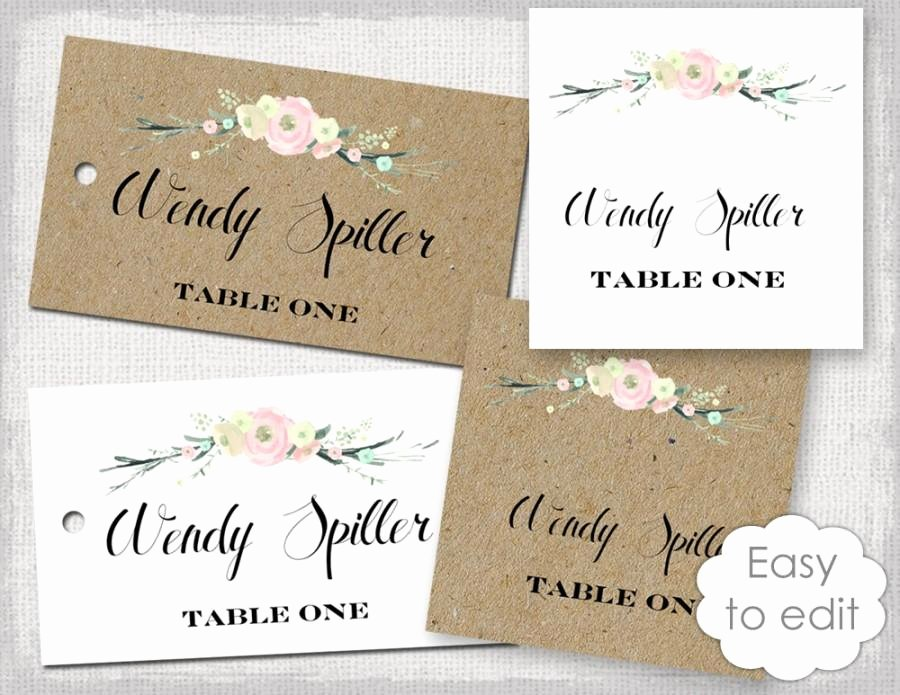 "Wedding Name Card Template Awesome Rustic Name Card Template ""rustic Flowers"" Blush Pink"