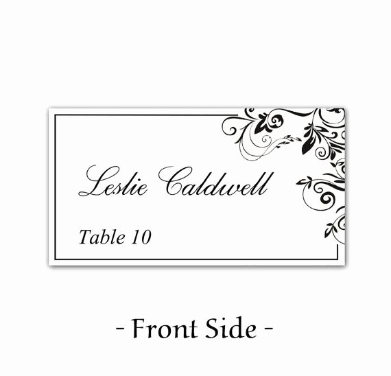 Wedding Name Card Template Fresh Instant Download Classic Elegance Black Leaf ornate
