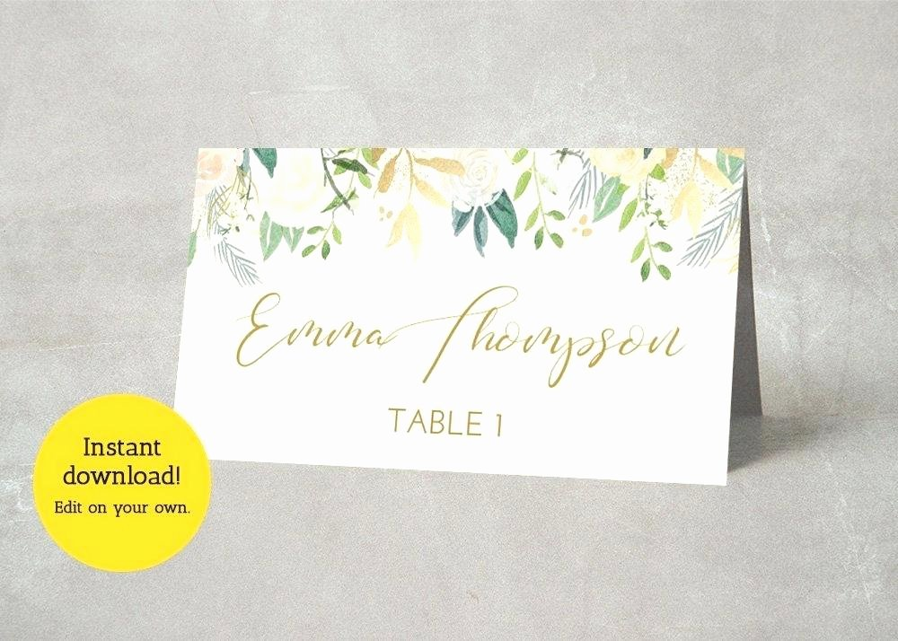 Wedding Name Card Template Fresh Wedding Place Cards Diy Template Diy Design Ideas