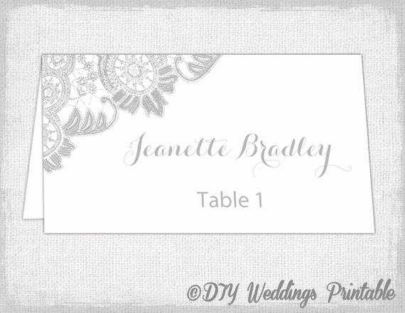 Wedding Name Card Template Luxury Printable Place Cards Template Silver Gray by