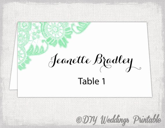 Wedding Name Card Template New Place Card Template Mint Lace Wedding Place Card Templates